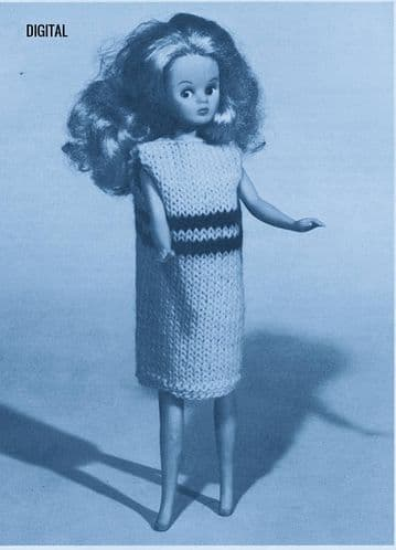 PDF Digital Downloa Vintage Knitting Pattern DollClothes Sleeveless Shift Dress Teenage Dolls Barbie