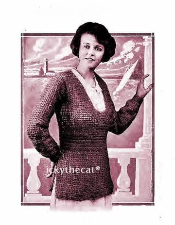 PDF Digital Download 1910s Vintage Crochet Pattern Ladies Women's Filet Crochet Sweater Jumper 38''