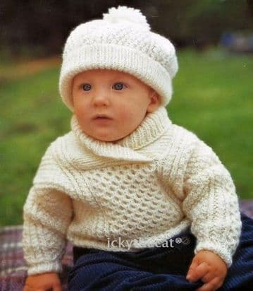 PDF Digital Download Baby Child Aran Sweater/Jumper  Shawl Collar and Hat.