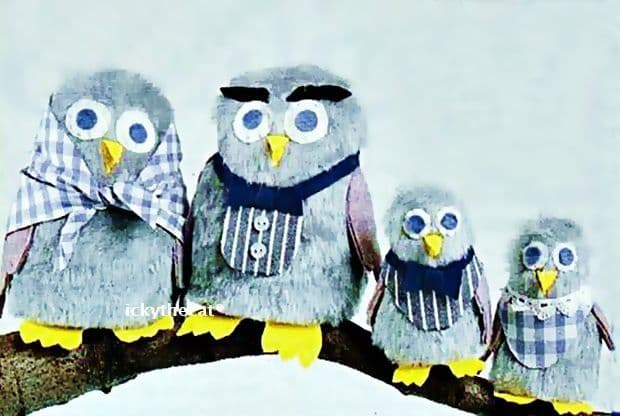 PDF Digital Download Easy Vintage Sewing Pattern An Owl Family Stuffed Plush Soft Toy Birds