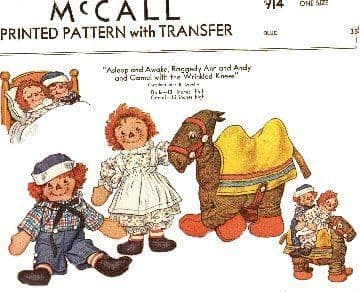 PDF Digital Download Raggedy Ann, Andy,  and Camel with Wrinkled Knees