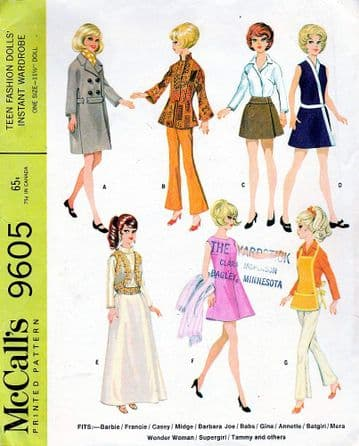 PDF Digital Download Sewing Pattern   McCalls 9605 Teenage dolls clothes Barbie