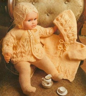 PDF Digital Download Studley 322 Doll/Baby Clothes 2 Jackets Leggings Bonnet 23''  4 ply