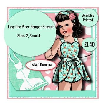 PDF Digital Download Viintage Sewing Pattern Baby Child Clothes One Piece Heart Bib Pinafore