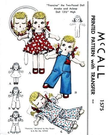 PDF Digital Download Vintag Sewing Pattern 14-15'' Francine Stuffed Soft Body Cloth Doll Toy