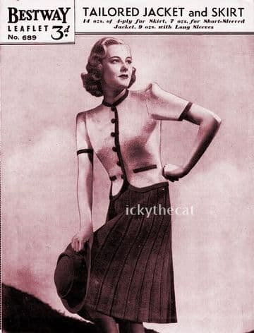 PDF Digital Download Vintage 1950's Knitting Pattern Women's Ladies Tailored Jacket & Skirt 34''