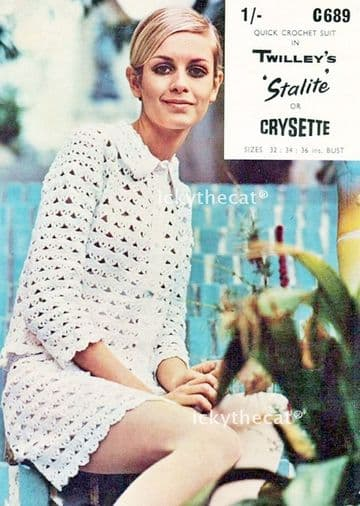 PDF Digital Download Vintage 1960s Crochet Pattern Twiggy Women's Mod Skirt Suit