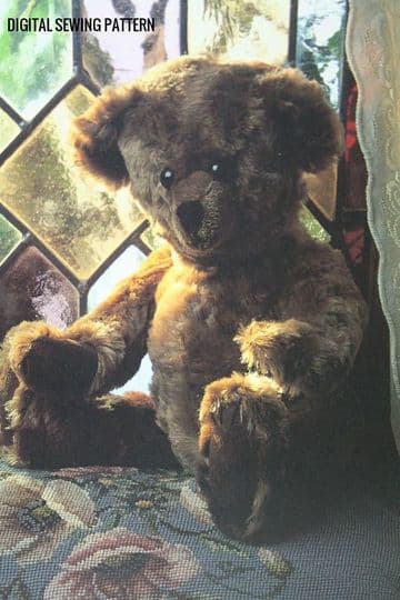 PDF Digital Download Vintage Chart Sewing Pattern 18'' Jointed Teddy Bear Stuffed Plush Soft Toy