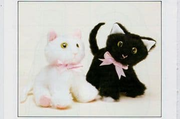 """PDF Digital Download Vintage Chart Sewing Pattern 2 Little Kittens or Cats Approx 8"""""""