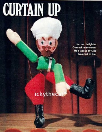 PDF Digital Download Vintage Chart Sewing Pattern Cossack Puppet Marionette Doll/ Toy & Clothes