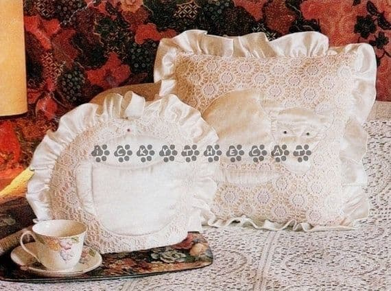 PDF Digital Download Vintage Chart Sewing Pattern Frilly Cat Cushion Pillow & Tea Cosy Cozy
