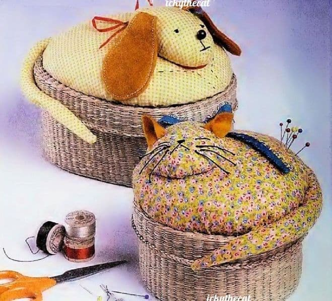 PDF Digital Download Vintage Chart Sewing Pattern Gingham Dog and Calico Cat Baskets