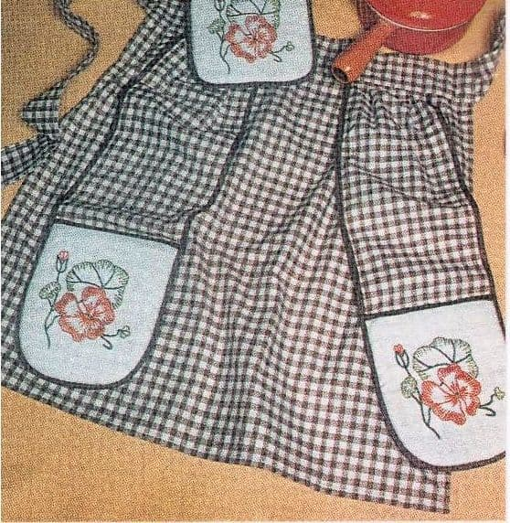 PDF Digital Download Vintage Chart Sewing Pattern Ladies Womens ​​​​​​​Half Apron & Oven ​​​​Glove