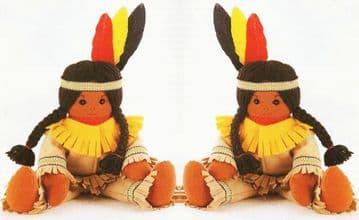PDF Digital Download Vintage Chart Sewing Pattern Native American Indian Soft Body Cloth Doll 13""