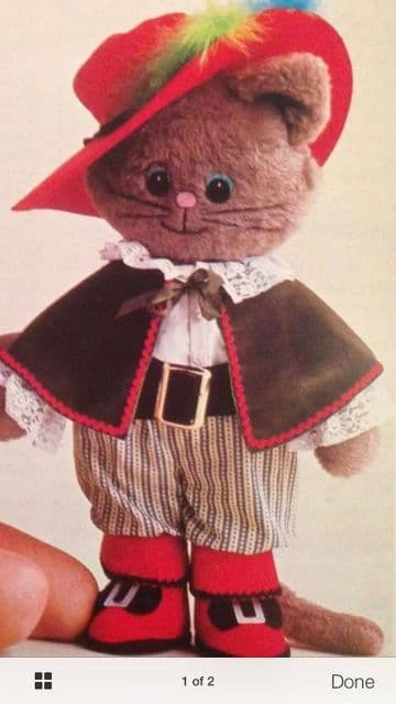 PDF Digital Download Vintage Chart Sewing Pattern Puss in Boots Rag Doll & Clothes Stuffed Plush So