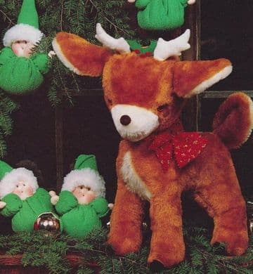 PDF Digital Download Vintage Chart Sewing Pattern Reindeer Stuffed Plush Soft Body Toy Animal