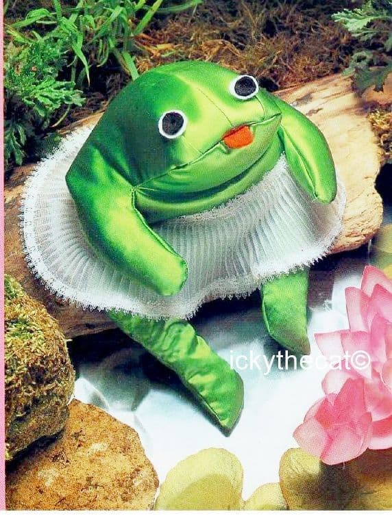 PDF Digital Download Vintage Chart Sewing Pattern Soft Sculpture Frog in Tutu Approx 14''