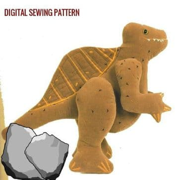 PDF Digital Download Vintage Chart Sewing Pattern Spinosaurus Spine Dinosaur Stuffed Plush Soft Toy
