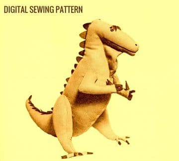 PDF Digital Download Vintage Chart Sewing Pattern Stuffed  Soft Body Cloth Toy Iguanodon Dinosaur
