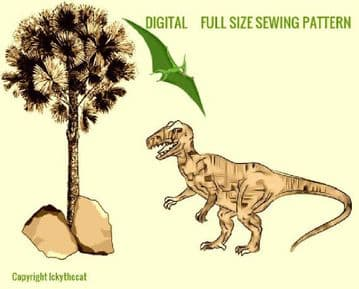 PDF Digital Download Vintage Chart Sewing Pattern Yaleosaurus Plant Eating Dinosaur Toy 21-22''