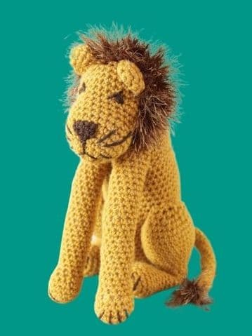 PDF Digital Download Vintage Crochet Pattern 11'' Lion Cat Stuffed Soft Body Toy Animal Size H Hook