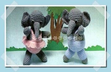 PDF Digital Download Vintage Crochet Pattern 15'' Elephants Twin Boy Girl Soft Toy Animal Toys