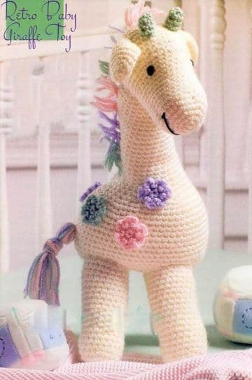 "PDF Digital Download Vintage Crochet Pattern 16"" Baby Giraffe Stuffed Soft Plush Toy Animal"