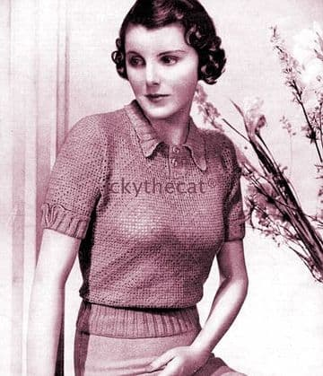 PDF Digital Download Vintage Crochet Pattern 1930s Ladies Women's Filet Lace Sweater Jumper