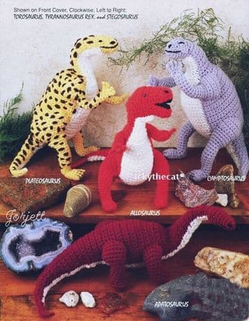 PDF DIGITAL Download Vintage Crochet Pattern 7 Dinosaurs Soft Plush Toys