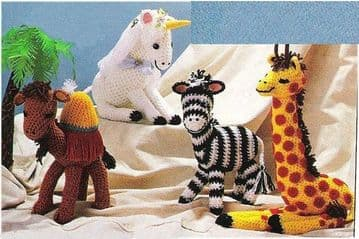 PDF Digital Download ​​​​​​​Vintage Crochet Pattern  Animal Plush Soft Body Toys Giraffe,Zebra Camel