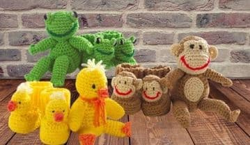 PDF Digital Download Vintage Crochet Pattern Animal Toys  Monkey Duck Frog & Matching Animal Bootees