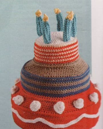 PDF Digital Download Vintage Crochet Pattern Aran Birthday Cake Stuffed Soft Body Toy Festive