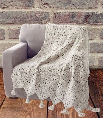 PDF Digital Download Vintage Crochet Pattern Aran Granny Square Afghan Blanket Throw 42 X 52''