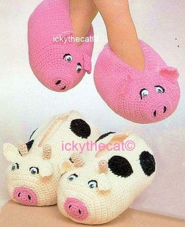PDF Digital Download Vintage Crochet Pattern Aran Pig and Cow Slippers Adult Foot Sizes 8'' / 9.5''