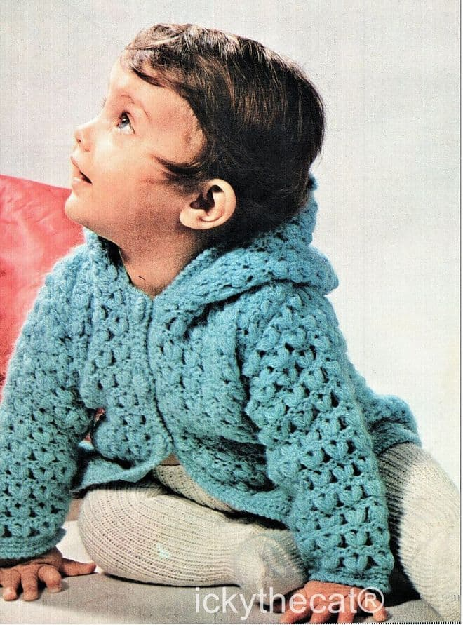 PDF Digital Download Vintage Crochet Pattern Babies Baby Cardigan Jacket with Hood 20-22 inches
