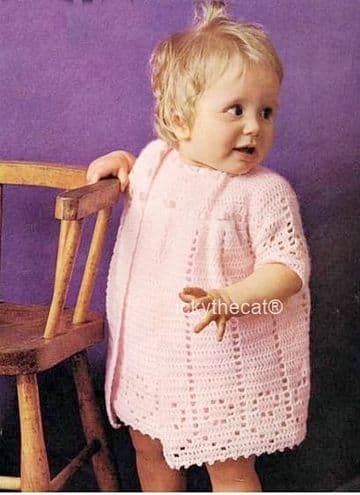 PDF Digital Download Vintage Crochet Pattern Baby Babies Dress and Coat 18-20 inches