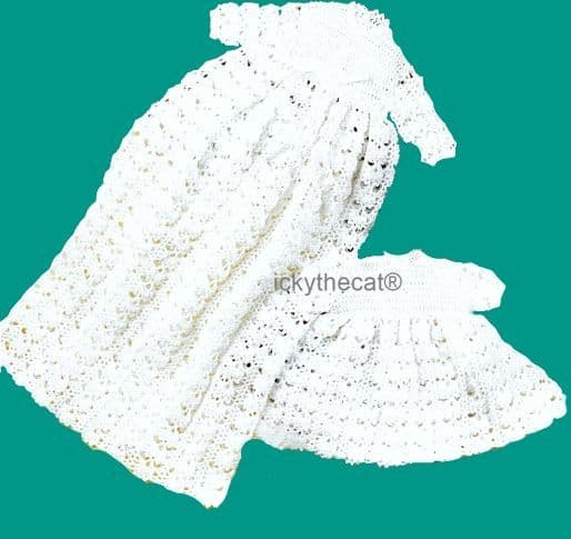 PDF Digital Download Vintage Crochet Pattern Baby Babies Long  Short Christening Gown Dress 16-20''