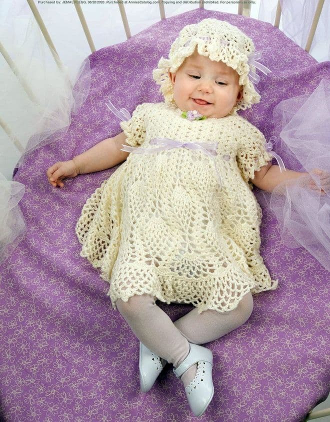 PDF Digital Download Vintage Crochet Pattern Baby Babies Pineapple Dress and Hat 20-22 inches