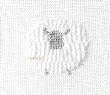 PDF Digital Download Vintage Crochet Pattern Baby Blanket Afghan Sheep Lamb Motif ​​​​​​​28 x 28''