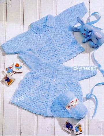 PDF Digital Download Vintage Crochet Pattern Baby Child Cardigan Jacket 12 - 22'' DK / 8 ply