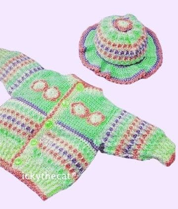 PDF Digital Download Vintage Crochet Pattern Baby Child Cardigan/Jacket & Brimmed hat 22-24'' DK