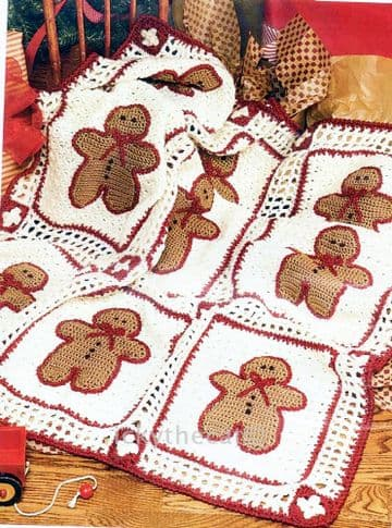 PDF Digital Download Vintage Crochet Pattern Baby Child Gingerbread Man Granny Square Afghan Blanket