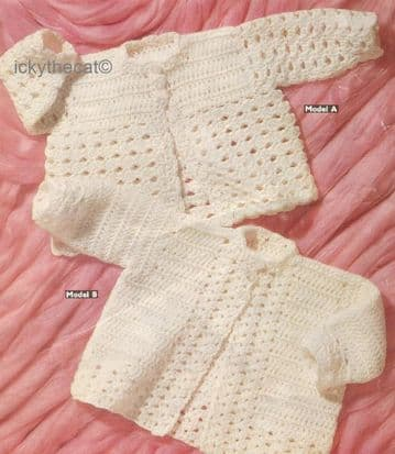 PDF Digital Download Vintage Crochet Pattern Baby Clothes  2 Jackets Coats 19'' DK / 8 ply