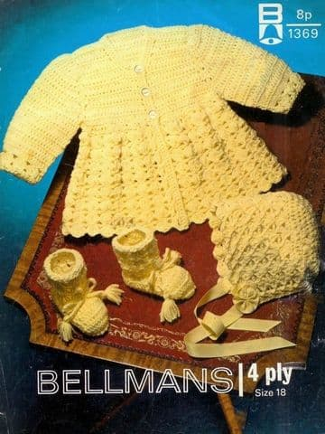 PDF Digital Download Vintage Crochet Pattern Baby Coat or Jacket Bonnet Bootees 18'' 4 ply yarn