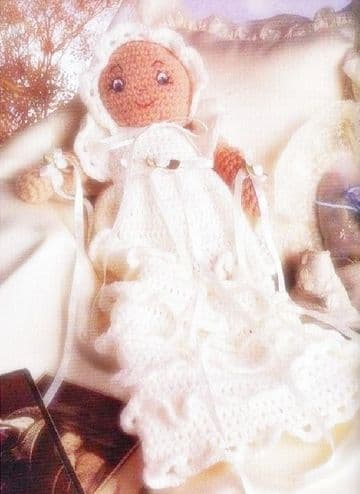 PDF Digital Download Vintage Crochet Pattern Baby Doll Christening Gown Bonnet Stuffed Soft Toy
