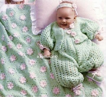 PDF Digital Download Vintage Crochet Pattern Baby Layette & Afghan Blanket