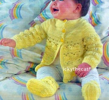 PDF Digital Download Vintage Crochet Pattern Baby Matinee Jacket and Coat, Bonnet and Bootees 4 ply