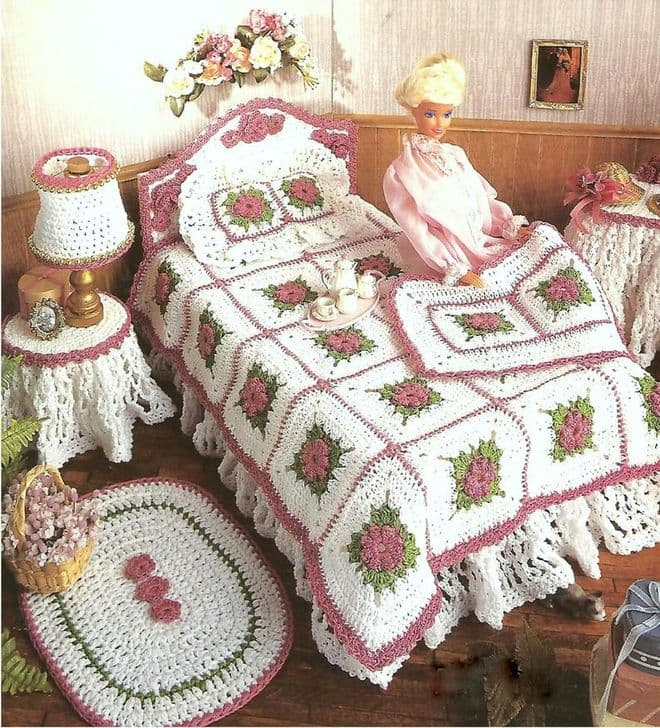 PDF Digital Download Vintage Crochet Pattern Barbie Victorian Bedroom Furniture Stuffed Soft Toys
