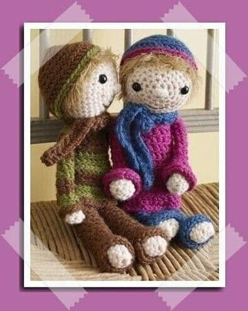PDF Digital Download Vintage Crochet Pattern Boy Girl Stuffed Soft Toy Doll 9-10'' Dolls Toys