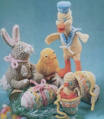 PDF Digital Download Vintage Crochet Pattern ​​​​​​Chick Egg Bunny Duck Stuffed Soft Toy Bird